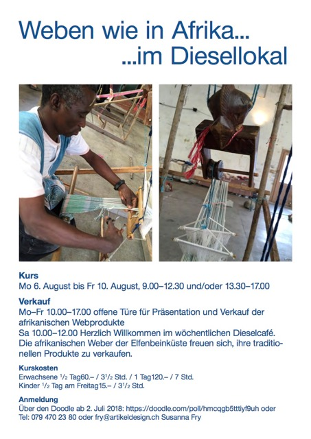 Das schon traditionelle Web-Event organisiert von Susanne war auch in der dritten Runde (nach Weben afrikanischvor 2 Jaren und Afrikanische Webkunst IIletzes Jahr) ein Erfolg. Der Mittags-...